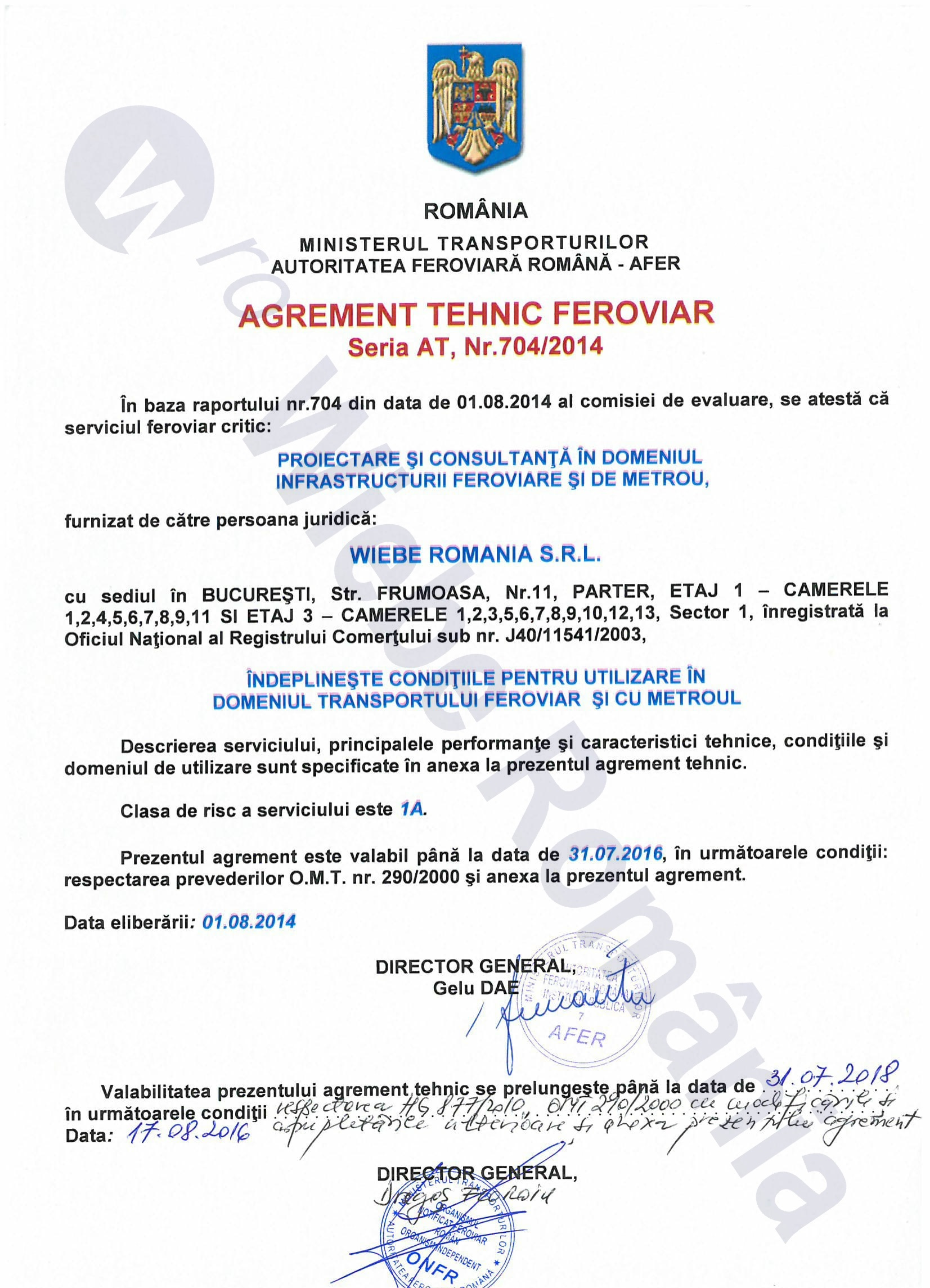 Certification Licensing Agreements Wiebe Romnia